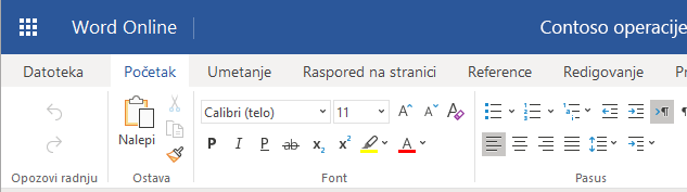 Traka u programu Word online