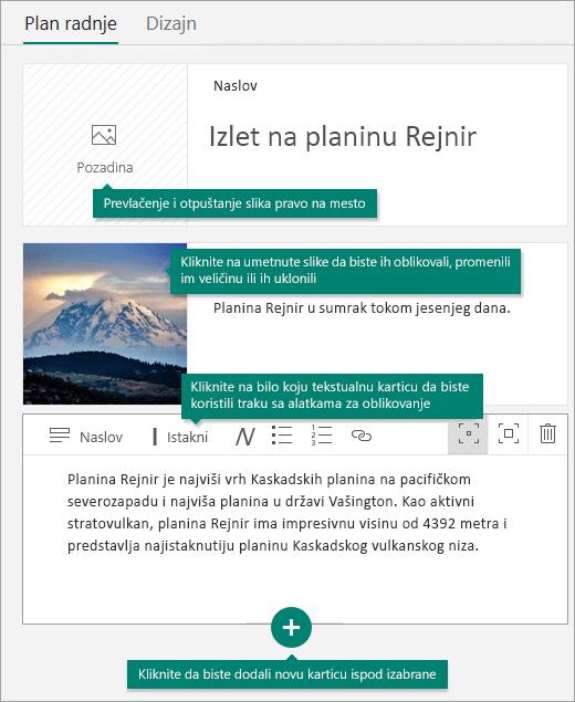 Dodavanje slika i teksta u plan radnje