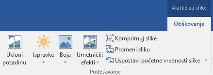 """Dugme """"Ukloni pozadinu"""" prikazano na kartici """"Alatke za slike – Oblikovanje"""" na traci u programu Office 2016"""