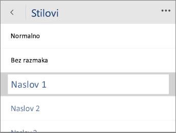 """Snimak ekrana menija """"Stilovi"""" u programu Word Mobile sa izabranom opcijom """"Naslov 1""""."""