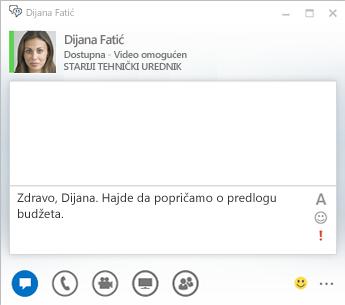 Snimak ekrana prozora IM razgovora