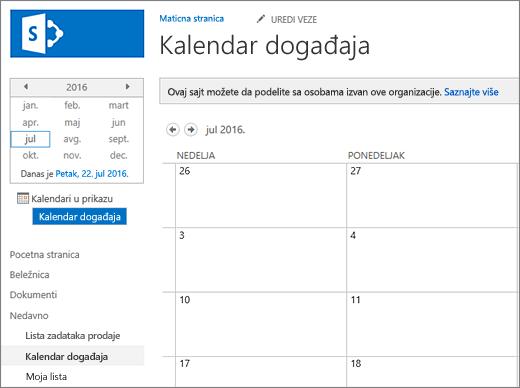 Primer aplikacije za listu kalendara.
