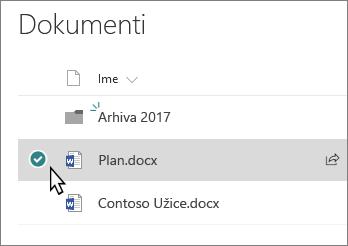Snimak ekrana biblioteke pomoću datoteka izabrana