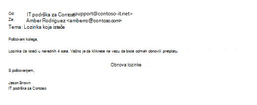 Uzorak phishing poruke