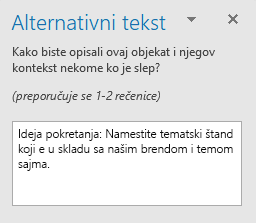 "Okno ""Alternativni tekst"" za oblik"