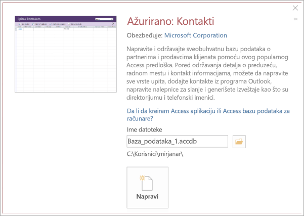 Snimak ekrana kontakt liste interfejsa