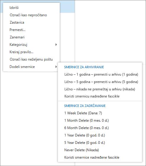 """Snimak pokazuje priručnog menija sa opcijom """"dodeli smernice"""" izabrana koji prikazuje u arhivu i smernice zadržavanja dostupna da biste primenili na izabranu e-poruku."""
