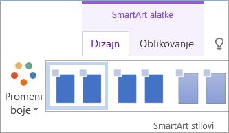 """Dugme """"Promeni boje"""" na kartici """"Dizajn"""" u okviru """"SmartArt alatke"""""""