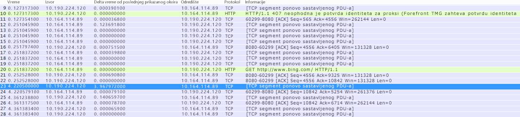"""U alatki Wireshark kolona """"Vremenska razlika od prethodno prikazanog okvira"""" može da se napravi desnim klikom na istoimeno polje u detaljima o okviru i izborom stavke """"Dodaj kao kolonu""""."""