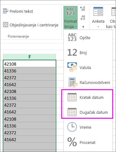 kolona datuma u tekstualnom formatu