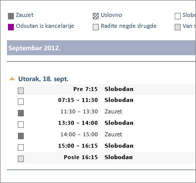 Primer kalendara koji se deli putem e-pošte