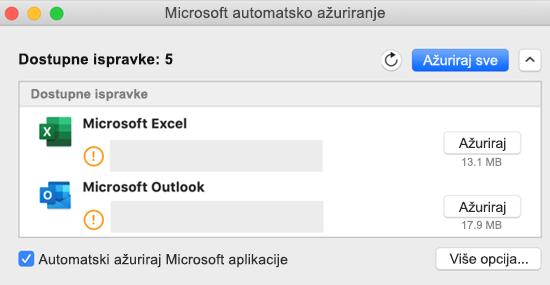Slika kontrolne table Microsoft AutoUpdate sa informacijama o ispravkama.