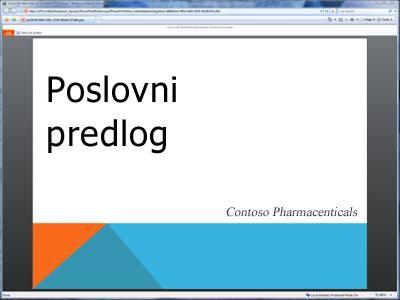 Prikaz emitovane projekcije slajdova u pregledaču