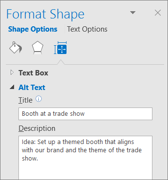 """Snimak ekrana oblasti alternativnog teksta okna """"Oblikovanje oblika"""" koji opisuje izabrani oblik"""