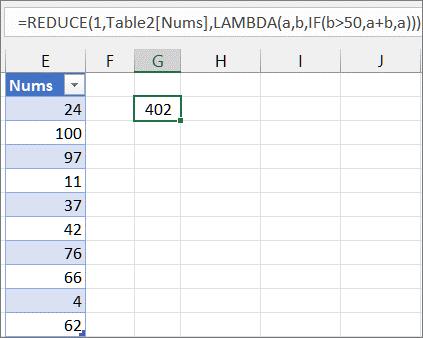 Drugi primer funkcije REDUCE