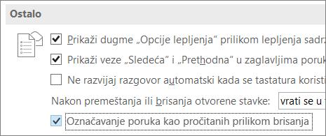 """Polje za potvrdu """"Označi poruke kao pročitane prilikom brisanja"""" u dijalogu """"Opcije programa Outlook"""""""