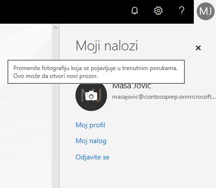 """Okno """"Moj nalog"""" sa krugom sa fotografijom koji prikazuje stanje zadržavanja pokazivača iznad sa ikonom kamere"""