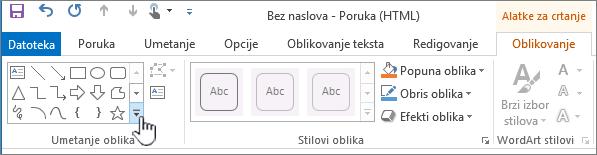 "Outlook dugme ""Umetni oblike"""
