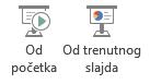 Možete da pokrenete projekciju slajdova od početka ili od trenutnog slajda