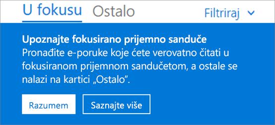 Slika koja prikazuje izgled fokusiranog prijemnog sandučeta kada korisnik prvi put otvori Outlook na vebu.