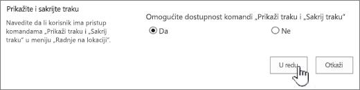 """Prikaži opciju Sakrij traku sa izabranom stavkom """"u redu"""""""
