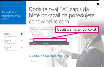 """U usluzi Office 365 izaberite stavku """"Detaljna uputstva"""" za više informacija o dodavanju TXT zapisa"""