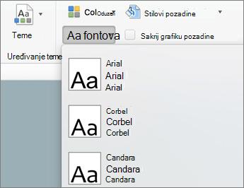 Na kartici master slajda izaberite stavku fontovi