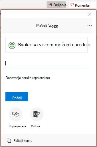 Ikona deljenja i dijalog u programu PowerPoint