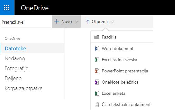 Snimak ekrana koji prikazuje pravljenje dokumenta na lokaciji OneDrive.com