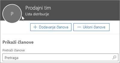 Snimak ekrana: Dodavanje članova liste distribucije