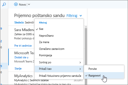 """Snimak ekrana prijemnog sandučeta koji prikazuje izabrane stavke """"Filter"""" > """"Sortiraj po"""" > """"Razgovori""""."""