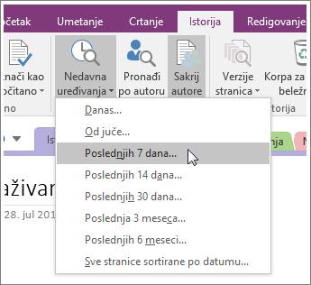 """Snimak ekrana dugmeta """"Nedavna uređivanja"""" u programu OneNote 2016."""