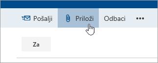 "Snimak ekrana dugmeta ""Priloži""."