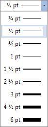 Veličina ivice tabele