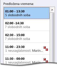 "Okno ""Predložena vremena"" za poziv za sastanak"
