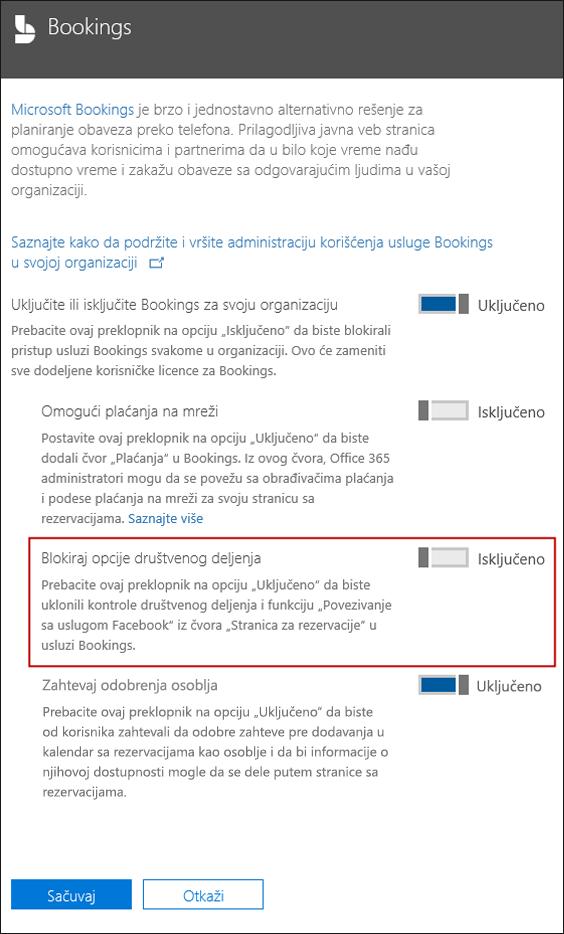 Snimak ekrana: Blok društvene opcije deljenja u rezervacije