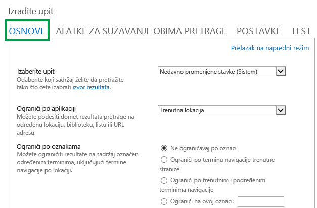 """Kartica """"OSNOVNO"""" prilikom konfiguracije upita u veb segmentu za pretragu sadržaja"""