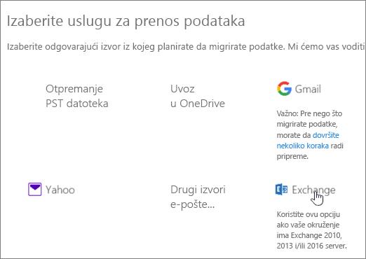 """Na stranici """"Migracija"""" izaberite Exchange kao uslugu za podatke"""