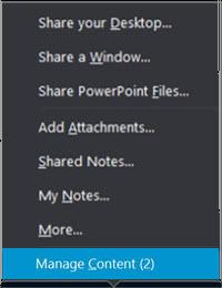 Predstavljanje meni koji prikazuje opciju za upravljanje sadržajem