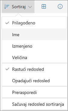 """Snimak ekrana menija """"Sortiraj"""" u usluzi OneDrive"""