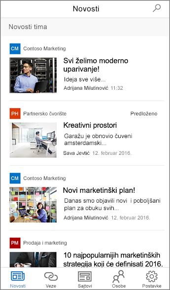 Snimak ekrana agregiranih novosti tima