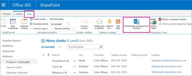 "Odaberite stavku ""Poveži se sa programom Outlook"" da biste spisak kontakata sinhronizovali sa programom Outlook"