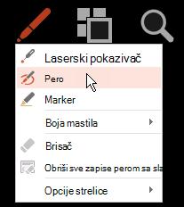 Kliknite na dugme olovka, a zatim u iskačućem meniju odaberite stavku pero.