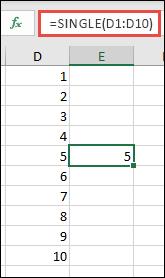 Primer funkcije SINGLE sa opsegom =SINGLE(D1:D10)