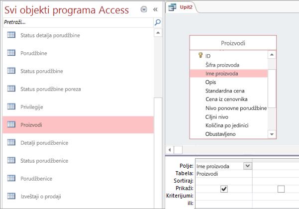 Snimak ekrana svi objekti programa Access prikaz