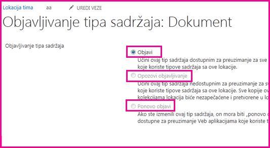 """Na stranici """"Objavljivanje tipova sadržaja"""" na lokaciji čvorišta možete da objavite, opozovete objavljivanje ili ponovo objavite tip sadržaja."""