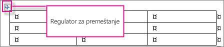 Tabela koja pokazuje regulator za premeštanje tabele.