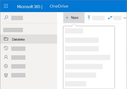 """Snimak ekrana biranja menija """"Novo"""" radi pravljenja novog dokumenta u usluzi OneDrive for Business"""