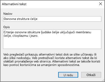 """Snimak dijaloga """"alternativni tekst"""" u programu OneNote sa primerom teksta u poljima """"Naslov"""" i """"Opis""""."""
