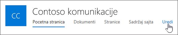 Gornji meni sajta za komunikaciju